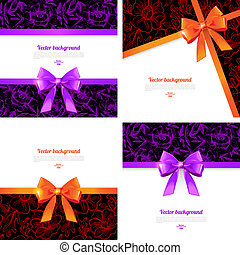 Set of card with gift bows. Elegant backgrounds with bow -...