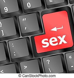 sexe, bouton, ordinateur portable, clavier