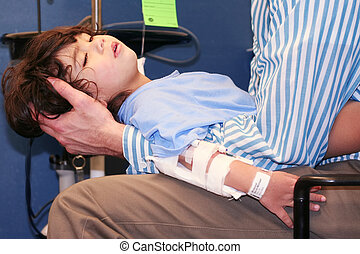 Little boy in Emergency Room - Worn out little boy in ER