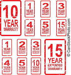Warranty Stamps - Red rubber stamp vector for warranty...