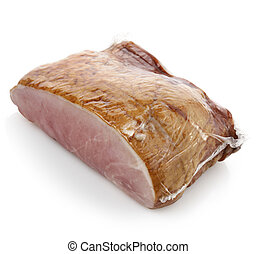 Smoked Ham On White Background.