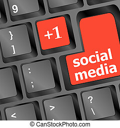 red social media buttons on keyboard - vector