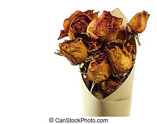 Dried roses with a copy space isolated on white background