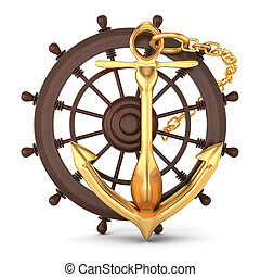 ship helm and golden anchor isolated on white. 3d rendered...