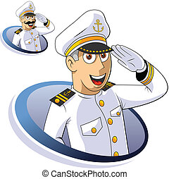 Marine Captain - Captain of ship salutes The isolated...