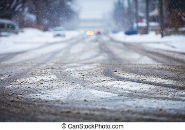 Snow-covered road, the marks of wheels - Snow-covered road,...