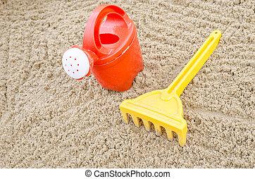 Beach toys on sand
