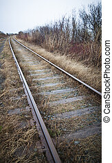 Train track - Train track details with natural diffused sun...