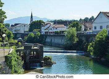 Été, vue, basque, ville, Mauleon-Licharre