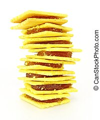Stack of biscuit, pineapple jam