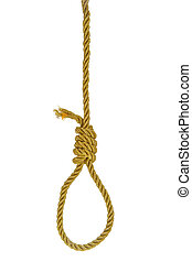 Hanging noose on golden rope isolated over white
