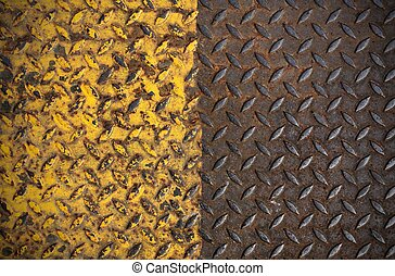old metal diamond plate with yellow paint on surface
