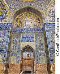 tiled background, oriental ornaments from Shah Mosque in Isfahan
