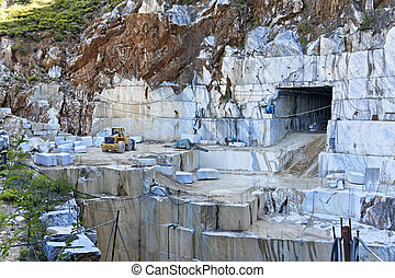 white marble quarry in carrara , tuscany italy