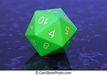 Icosahedron 20 sided die. - Green icosahedron 20 sided...