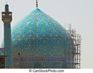 Dome and minaret of Imam Mosque in Isfahan, Iran