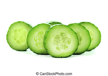 Fresh Cucumber and slices white background.