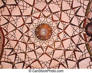 Ceiling decoration interior of historic old house in Kashan,...