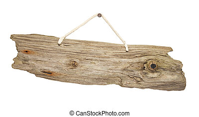 isolated Driftwood wooden sign board on string - old grungy...