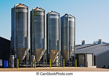 Grain storage silos - large scale commercial chicken farm...