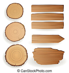 Vector Wood Material Elements - Vector Illustration of Wood...