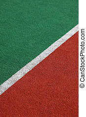Sideline - The sideline of a synthetic sporting field,...