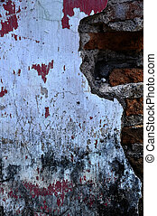 Grunge brick wall texture very old with concrete remain