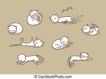 Sleeping cats set - Cute white doodle cats sleeping in...