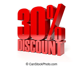30 percent discount Red shiny text Concept 3D illustration...
