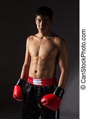 jovem, macho, kickboxer