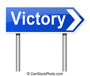 Victory concept. - Illustration depicting a sign with a...