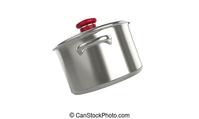 Stainless steel pot, rotates on white background
