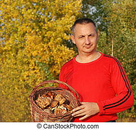 Man holding a basket of mushrooms