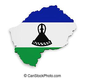 Lesotho Map Flag 3d Shape