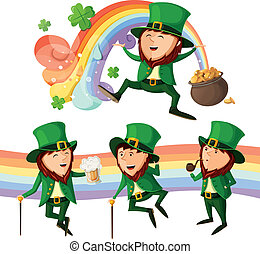 Set of cute leprechauns. Isolated on white background.