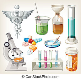 Set of supplies in pharmacology - Set of supplies used in...