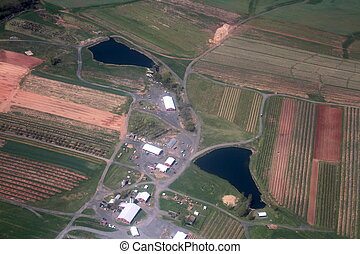 Aerial view of barns and fields - Aerial view of barns and...