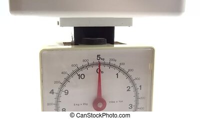kitchen scale in use