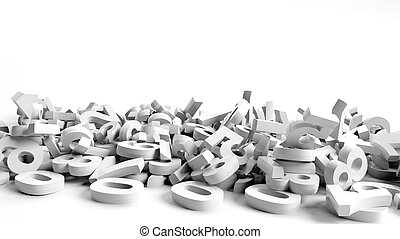 Fallen 3d numbers on white background