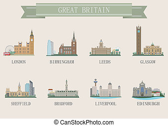 City symbol. UK. Vector set for you design