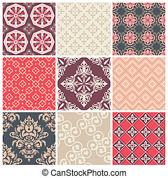 Set of nine colorful seamless patte