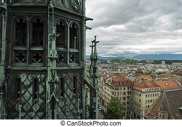 view of Geneva, Switzerland from Cathedral Saint Pierre -...