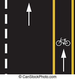 Bicycle Trail - Bicycle route sign on the road and arrows...