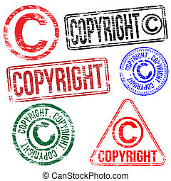 Copyright Stamps - Rectangular and round copyright rubber...