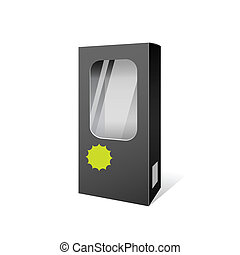 Black box products package design, vector illustration