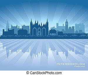 Peterborough, inglaterra, ciudad, contorno, silueta
