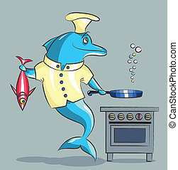 The dolphin is the cook - The smiling dolphin the cook, in a...
