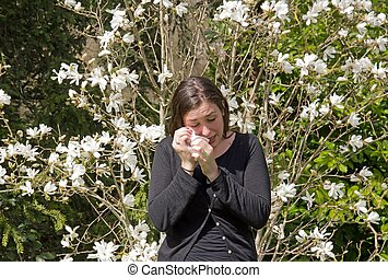 Hay fever, allergic rhinitis, at the beginning of the spring