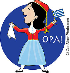 Greek Lady Dancing - A lovely lady dancing in a Greek...