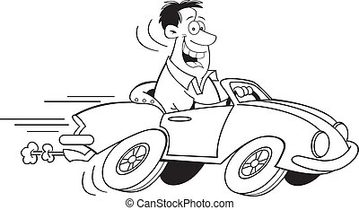 Cartoon Man Driving a Car Black an - Black and white...